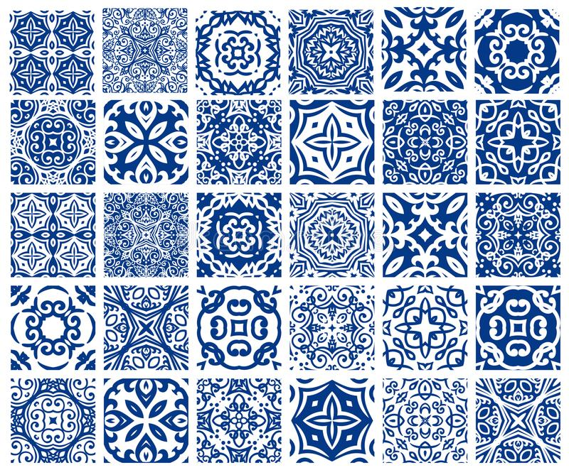 Tiles Patterns Set. Vector tiles patterns. Seamless flourish backgrounds with blue flourish elements. Arabic decorative design for floor or wall. Square stock illustration