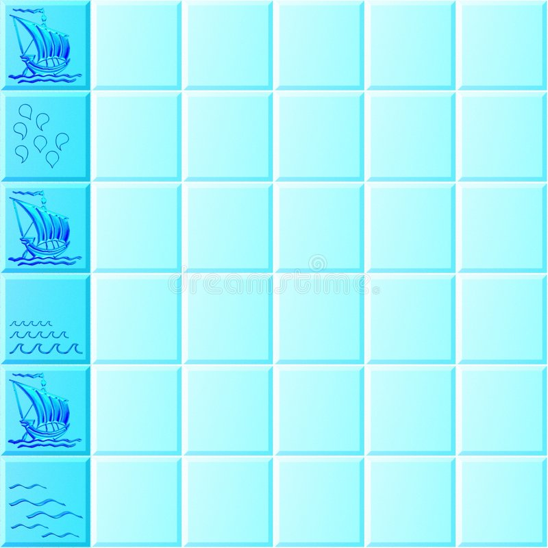 Tiles Sailing. Ceramic wall tiles, with sailing pattern on the left border. Seamless tile stock illustration