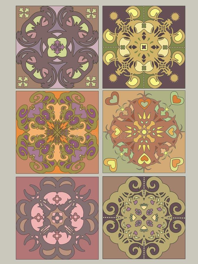 Tiles set with vintage decorative patterns vector illustration