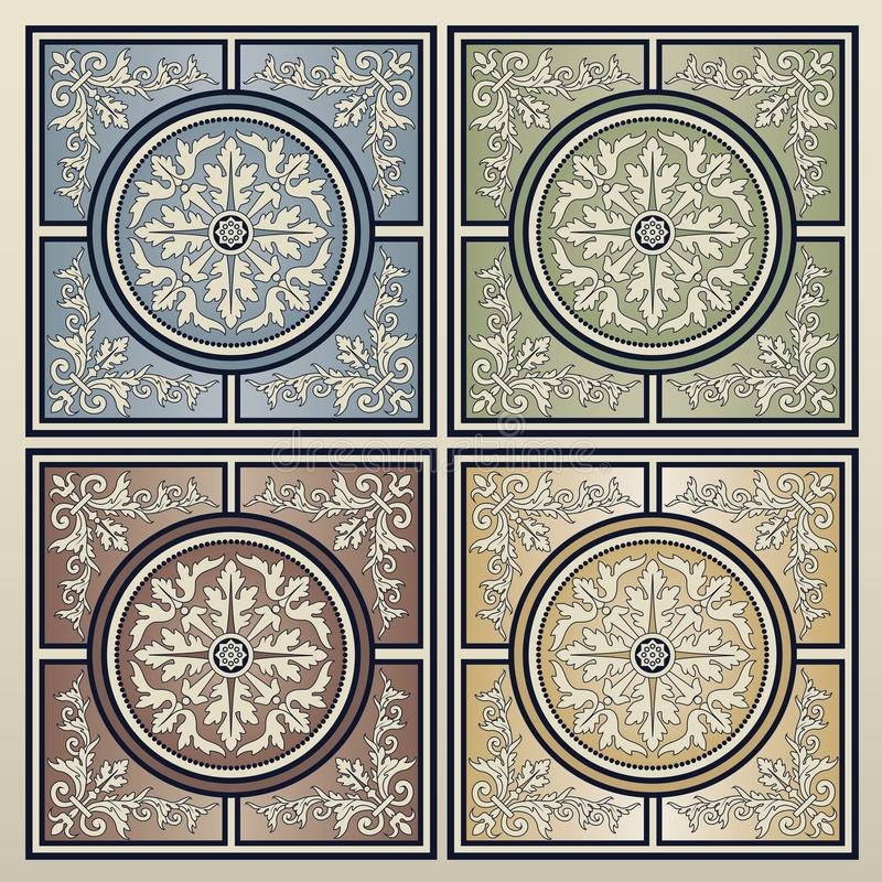 tiles tappning royaltyfri illustrationer