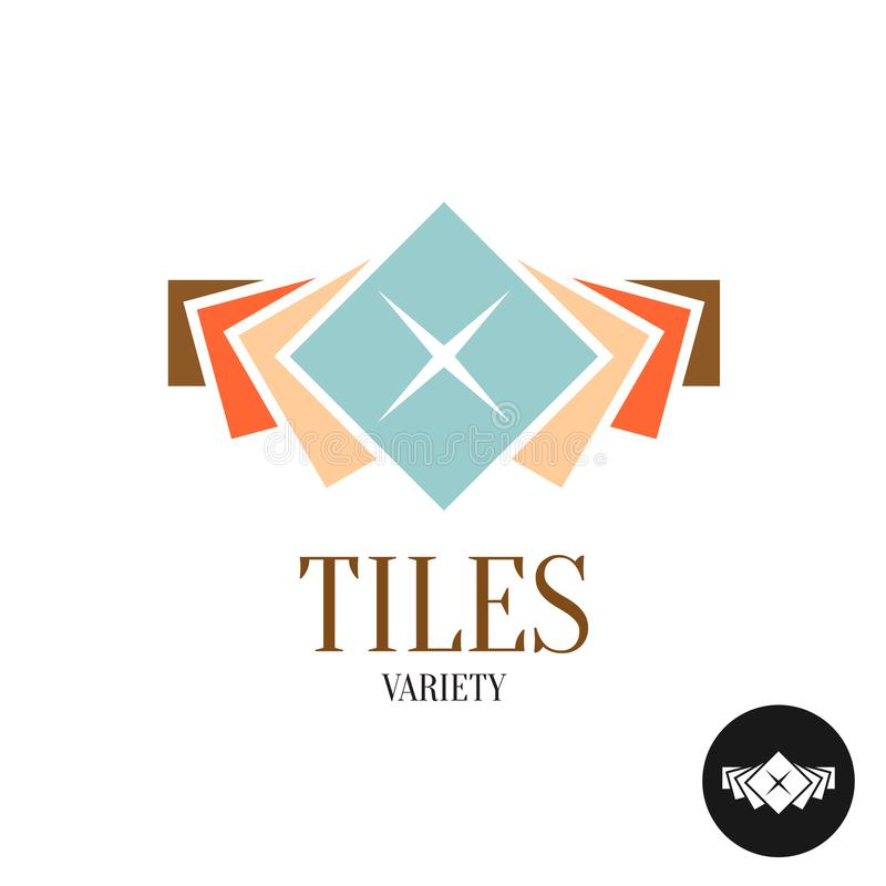 Tiles variety logo. Row of the color square tiles. stock illustration