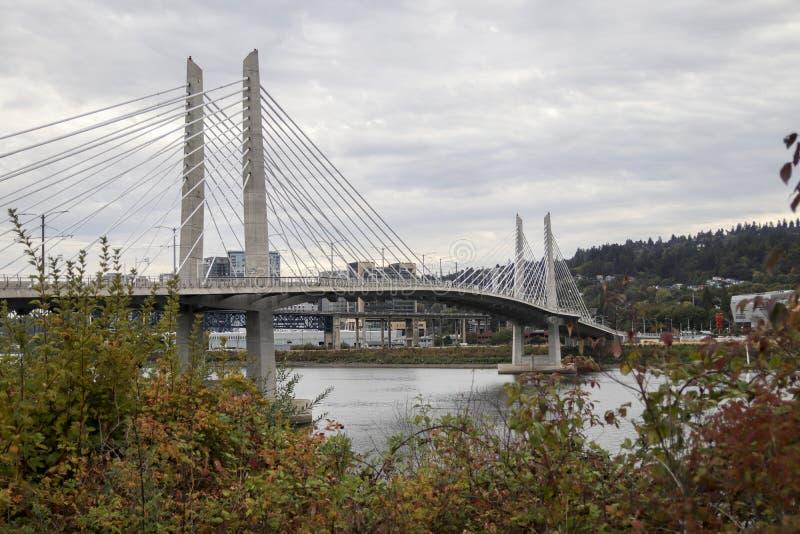 Tilikum crossing bridge in Portland, Oregon. Tilikum Crossing, Bridge of the People is a cable-stayed bridge across the Willamette River in Portland, Oregon stock photography