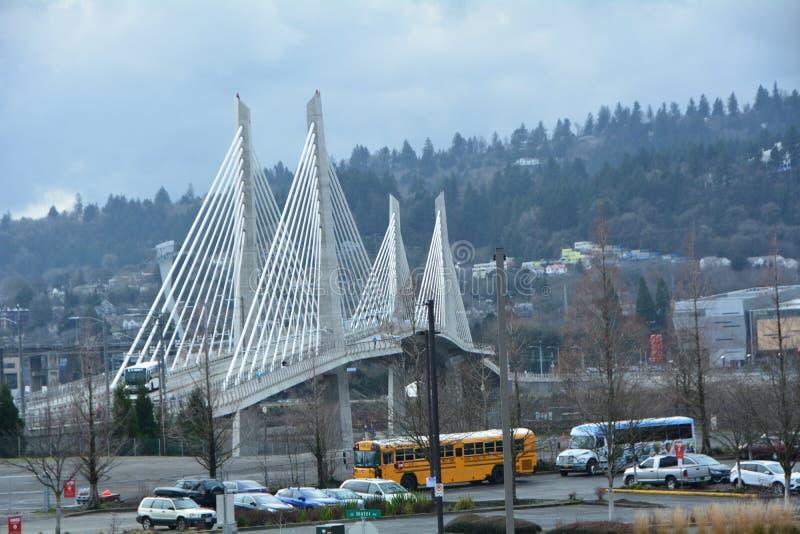 Tilikum Crossing Bridge in SE Portland, Oregon. This is the Tilikum Crossing Bridge in SE Portland, Oregon. It is designed for just public transportation stock photos