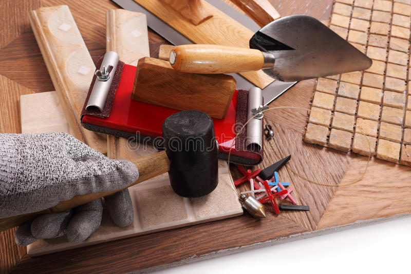 Tiling works of high quality stock image