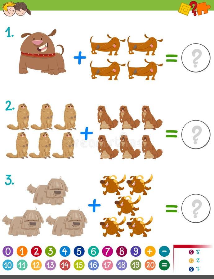 Tilläggsmatematikaktivitet royaltyfri illustrationer