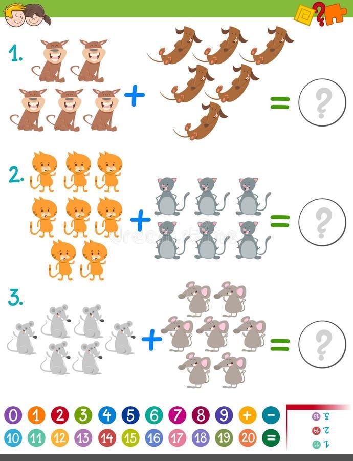 Tilläggsmatematikaktivitet för ungar vektor illustrationer