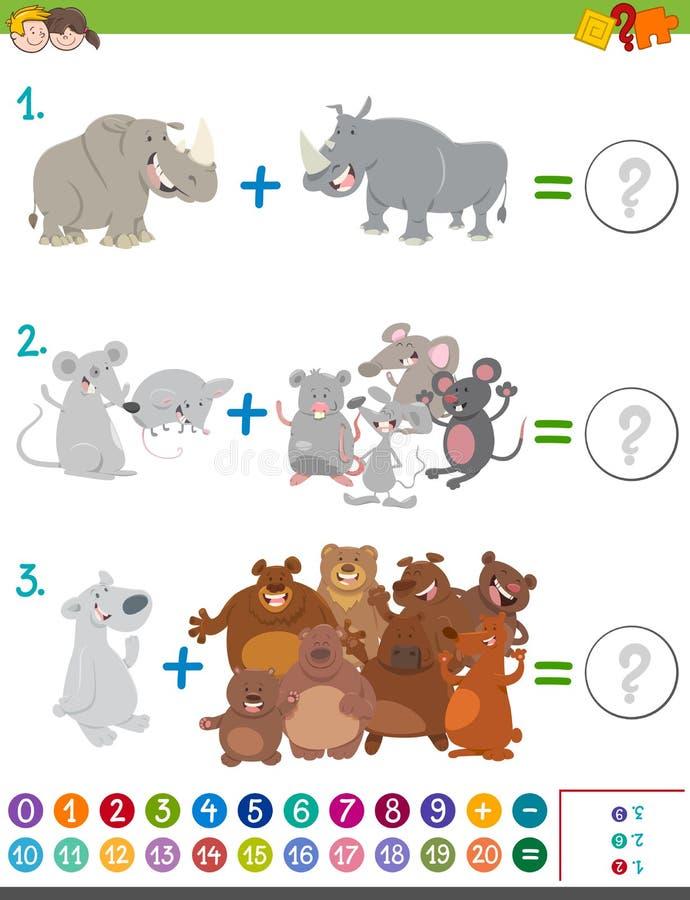Tilläggsmatematiklek med djur vektor illustrationer