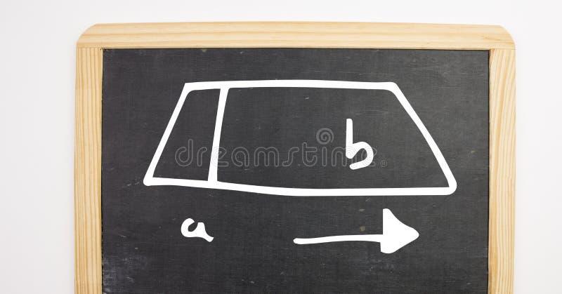 a- till b-diagram på svart tavla royaltyfri foto