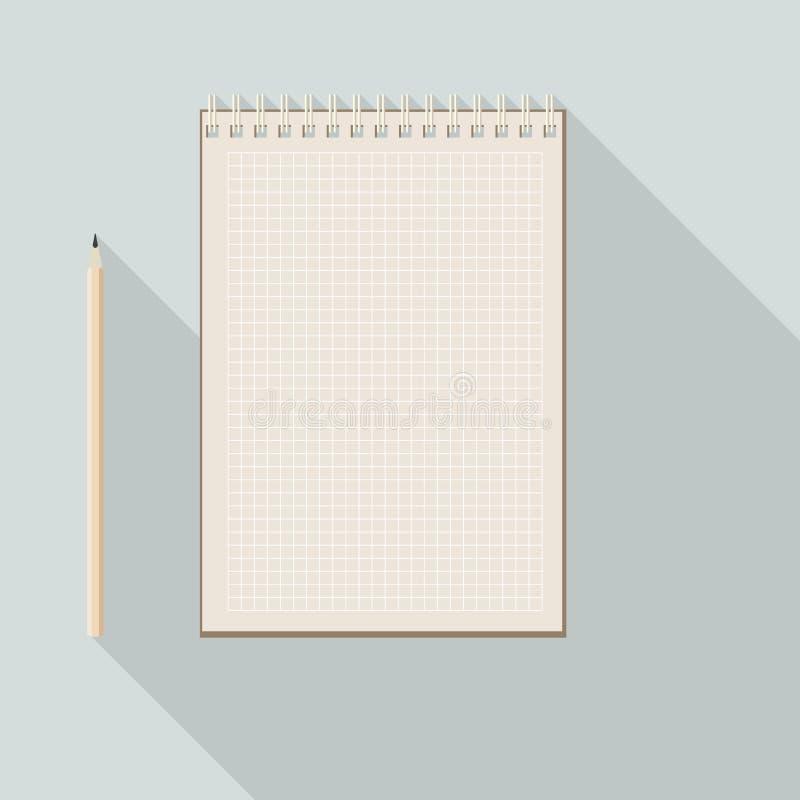 Till den vänsterhänta blyertspennan och den tomma rutiga anteckningsboken för kraft papper vektor illustrationer