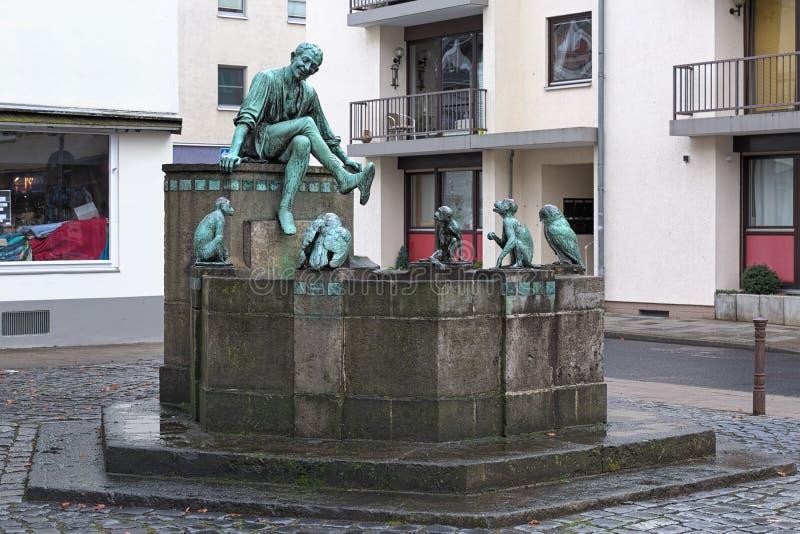 Till Eulenspiegel fountain in Braunschweig, Alemanha fotografia de stock royalty free