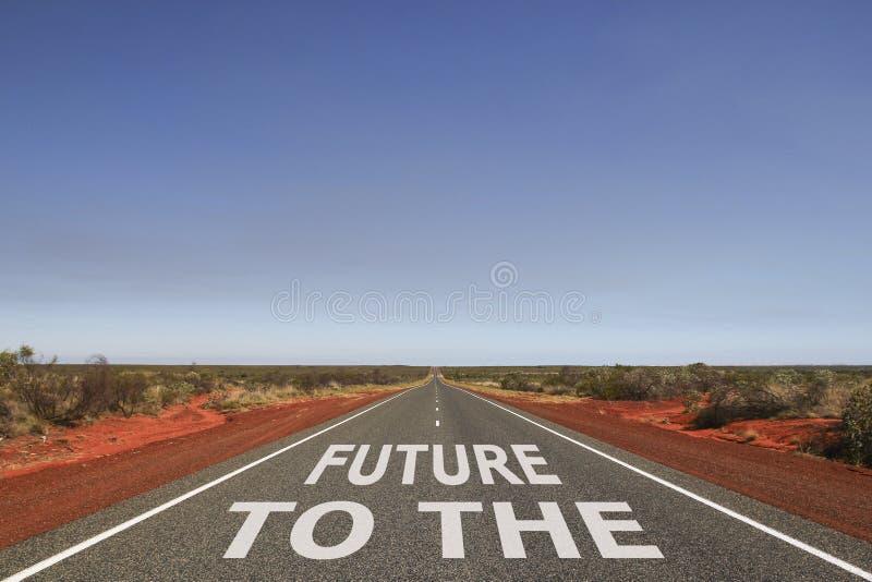 Till framtiden som är skriftlig på vägen royaltyfri fotografi