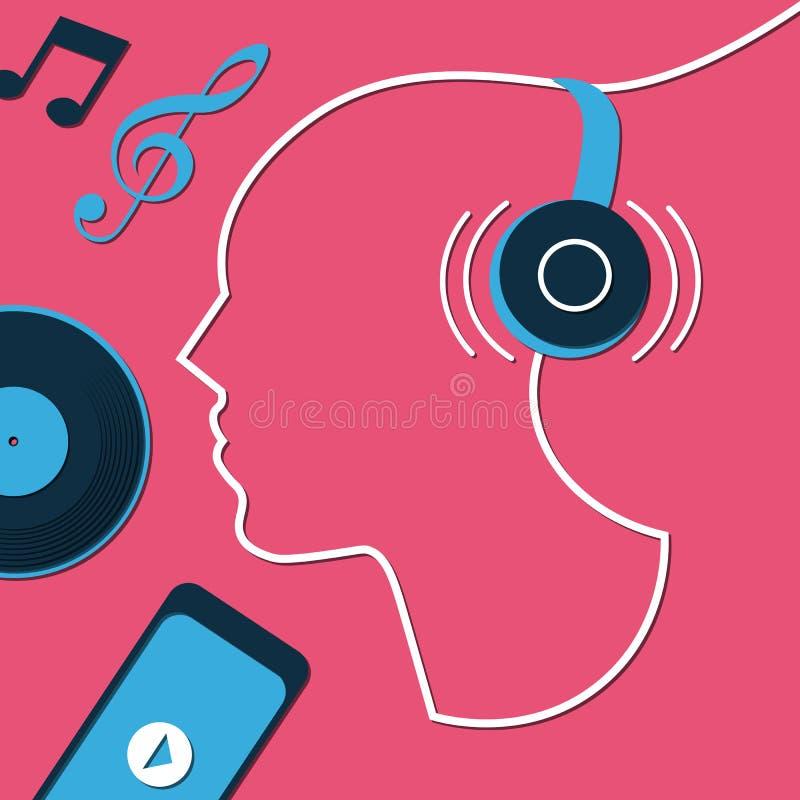 Till musik lyssnar illustrationen med för hörlurar—abstrakt begrepp vektor illustrationer