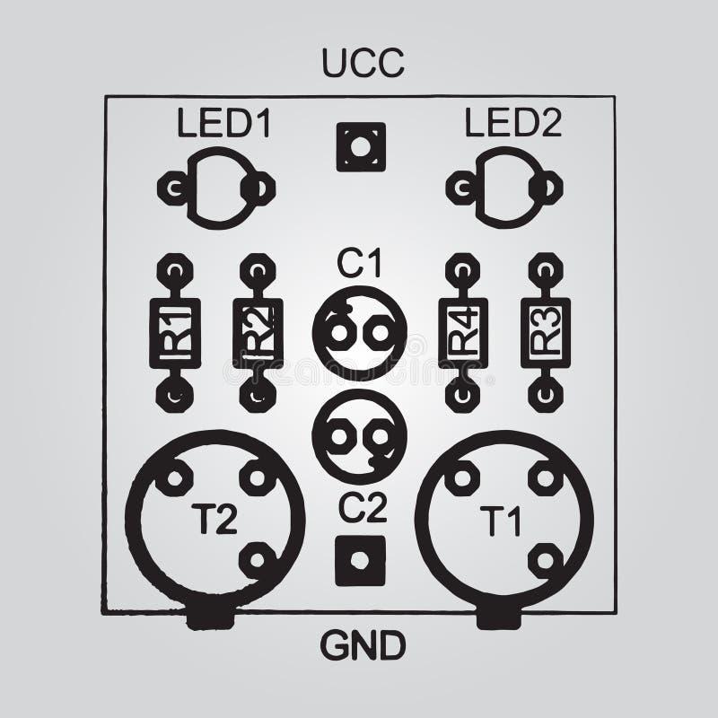 Till och med-hål för bräde för utskrivaven strömkrets teknologi vektor illustrationer
