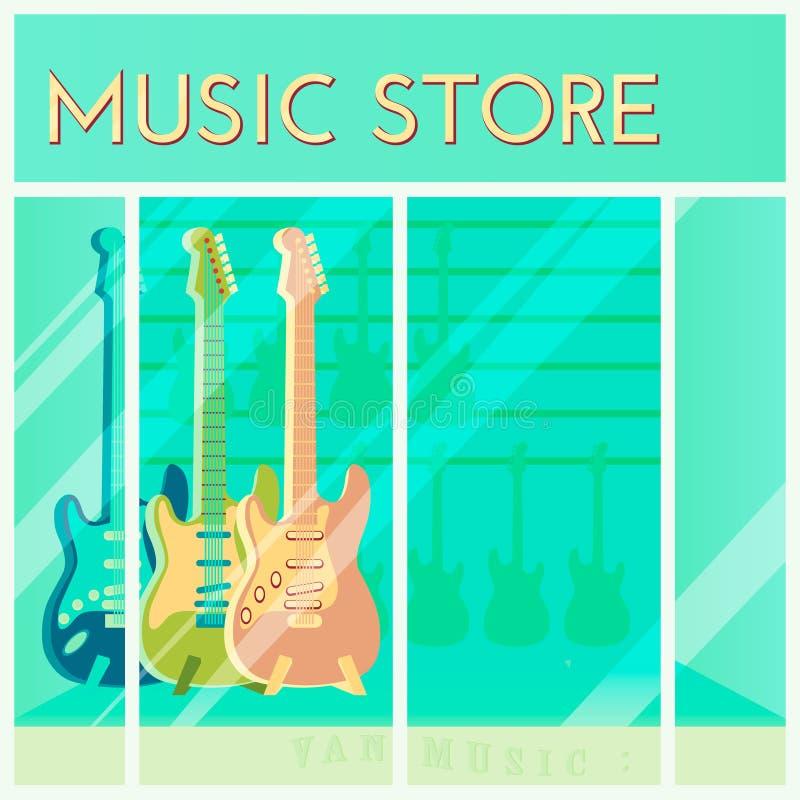 Till salu hänga för gitarrer i ett musiklager Shoppingbakgrund Tecknad filmstil Detaljistfönster ocks? vektor f?r coreldrawillust vektor illustrationer