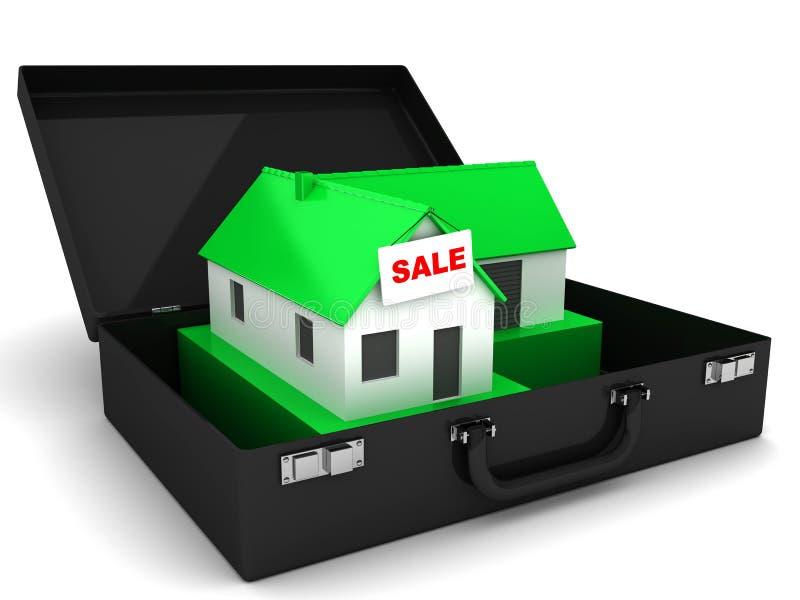 Till salu litet grönt hus och fall royaltyfri illustrationer