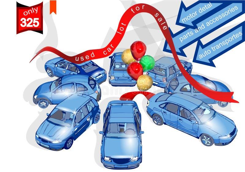 Till salu lott för använd bil vektor illustrationer