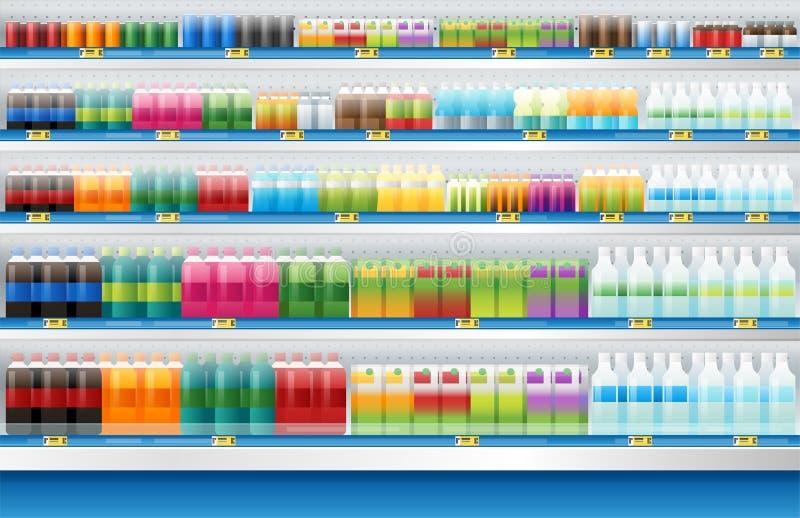 Till salu skärm för drycker på hylla i supermarket royaltyfri illustrationer