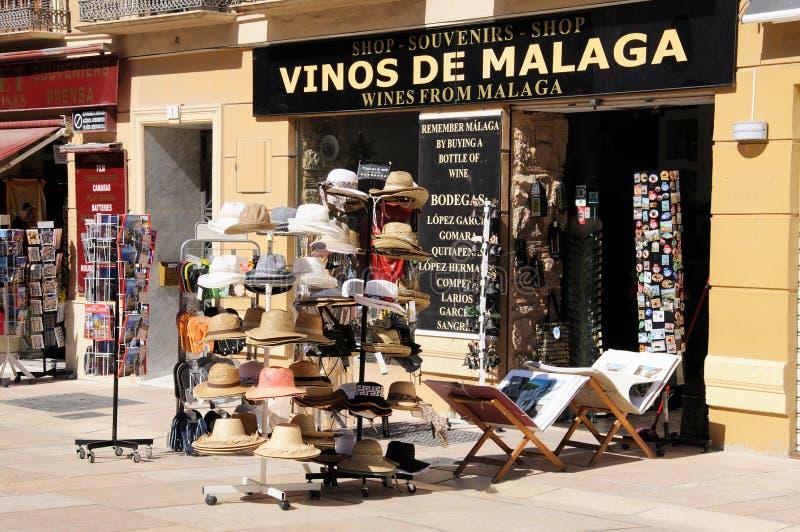 Till salu solhattar, Malaga, Spanien royaltyfri fotografi