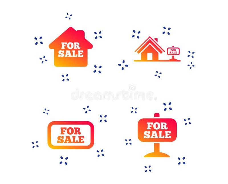 Till salu symboler S?lja f?r fastighet vektor stock illustrationer