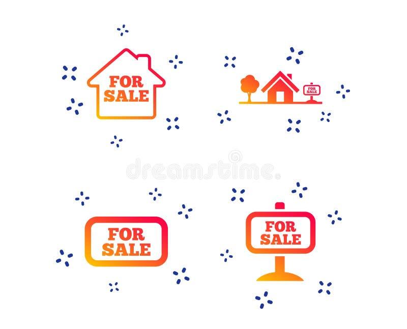 Till salu symboler S?lja f?r fastighet vektor royaltyfri illustrationer