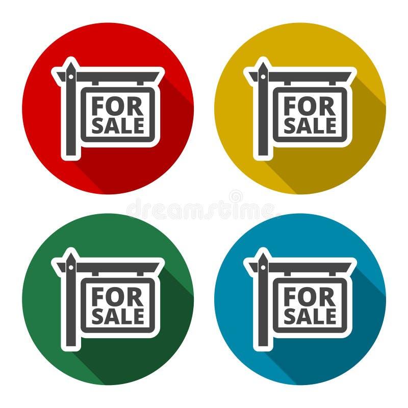 Till salu symbolsuppsättning med lång skugga stock illustrationer