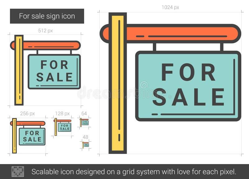 Till salu teckenlinje symbol stock illustrationer