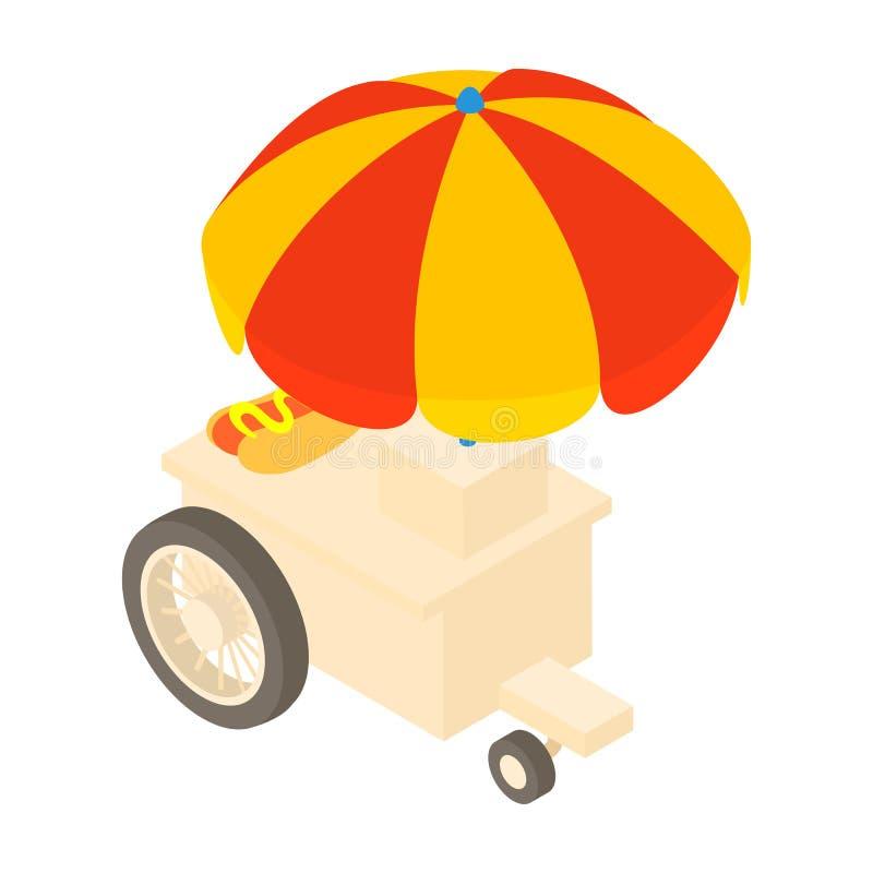 Till salu varmkorvar symbol, tecknad filmstil för lastbil royaltyfri illustrationer