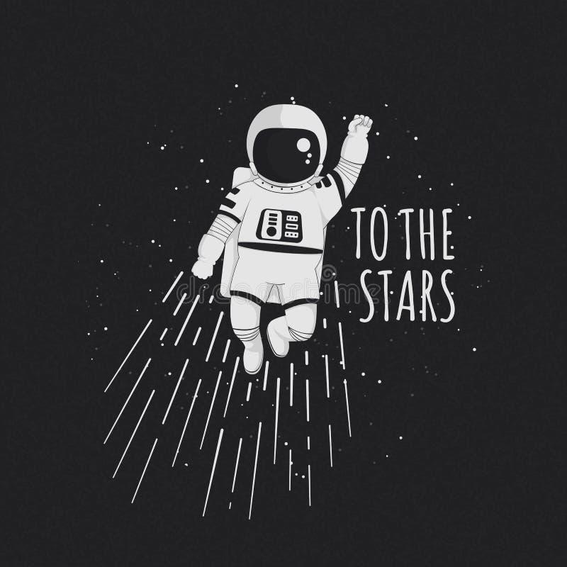 Till stjärnavektorillustrationen affisch, t-skjorta design Monokromt tecknad filmastronautflyg med den lyftta näven med stjärnor vektor illustrationer