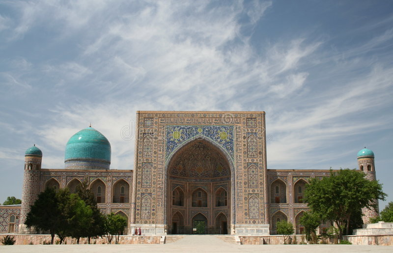 Tilla-Kori Madrasah, Samarkand stock photography