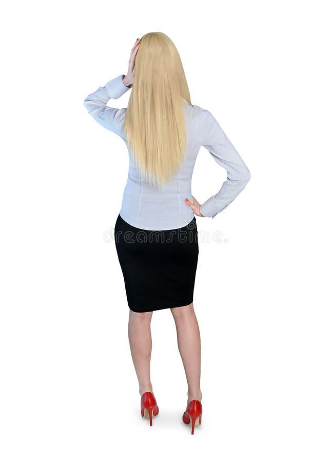 tillbaka affär som ser kvinnan arkivbild