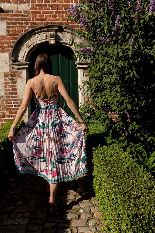 Tillbaka antik väggdörr för kvinna, Groot Begijnhof, Leuven, Belgien royaltyfri foto