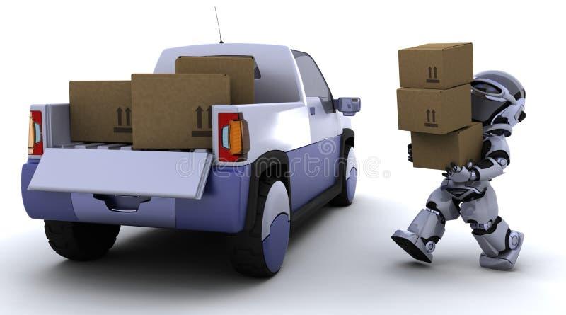 tillbaka askar som fyller på robotlastbilen royaltyfri illustrationer
