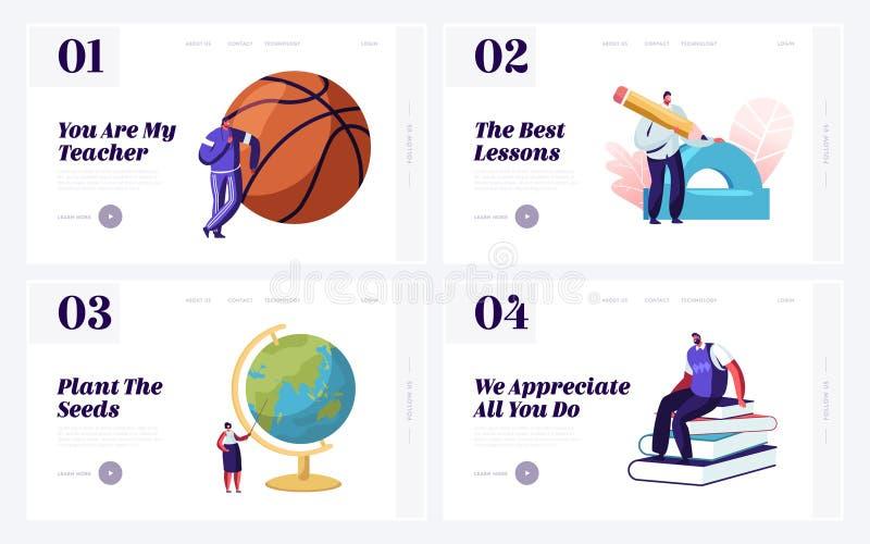 Tillbaka att skola begreppet för uppsättning för Websitelandningsida Lärare med bildande hjälpmedel Fysisk kulturmatematik för ge stock illustrationer