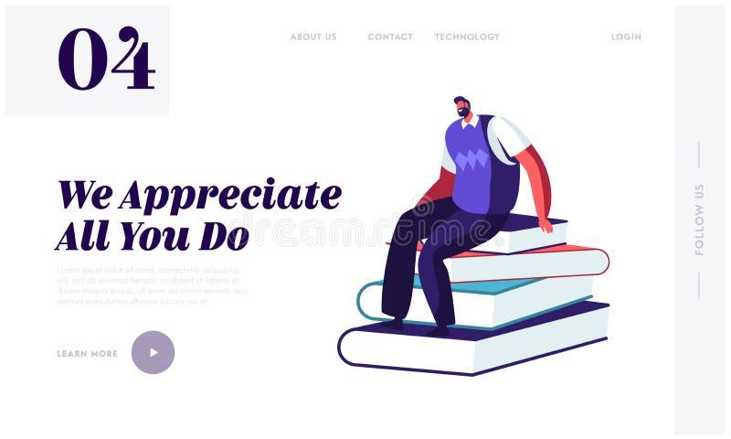 Tillbaka att skola begreppet för Websitelandningsida Manlig lärare Character Sitting på högen av böcker i grupprum som för kurs vektor illustrationer