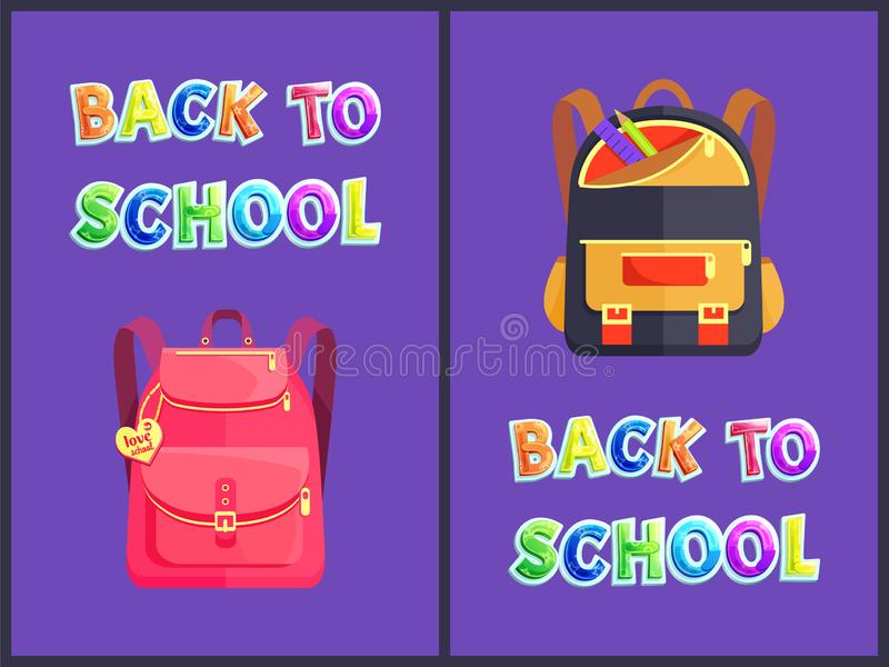 Tillbaka att skola illustrationen för ryggsäckaffischvektor stock illustrationer