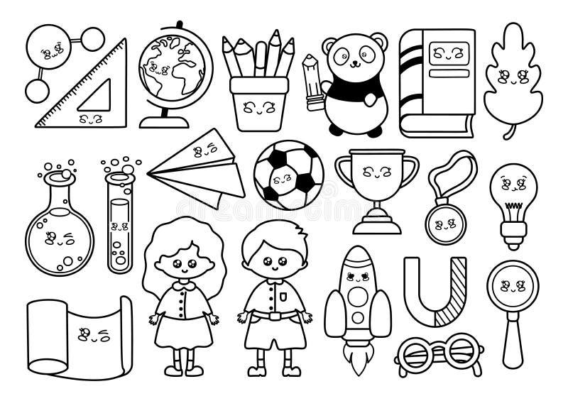 Tillbaka att skola Kawaii stock illustrationer