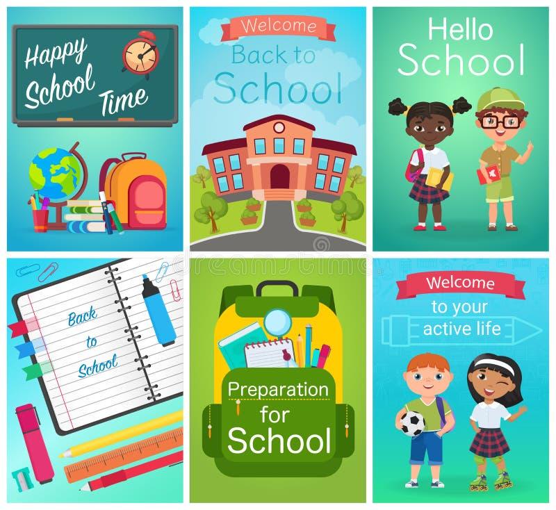 Tillbaka att skola uppsättningen för kortdesign elevungar, utrustning för skolatillförsel Illustration för utbildningsmallvektor royaltyfri illustrationer