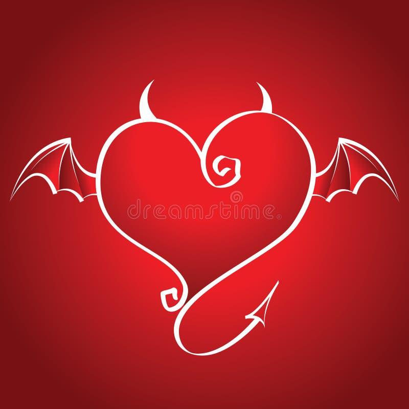 tillbaka bad flyger vingar för hjärtahornsred stock illustrationer