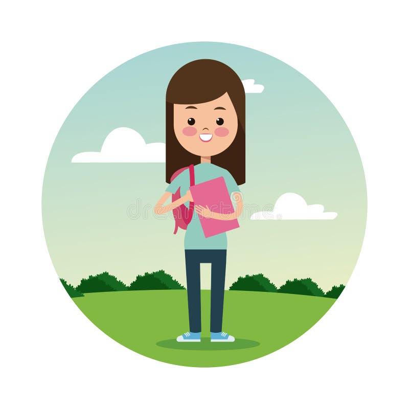 Tillbaka bakgrund för landskap för student för skolaflickabrunett stock illustrationer