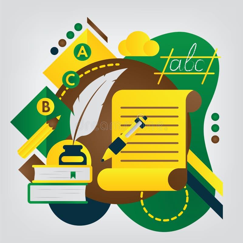 tillbaka begreppsskola till Engelskt språk och litteratur vektor illustrationer