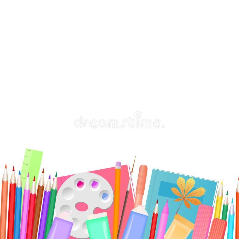tillbaka begreppsskola till Skolatillförsel för att undervisa och barn kreativitet för ` s royaltyfri illustrationer