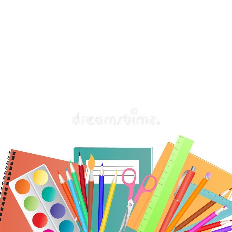 tillbaka begreppsskola till Ställ in för kreativitet för barn` s vektor illustrationer