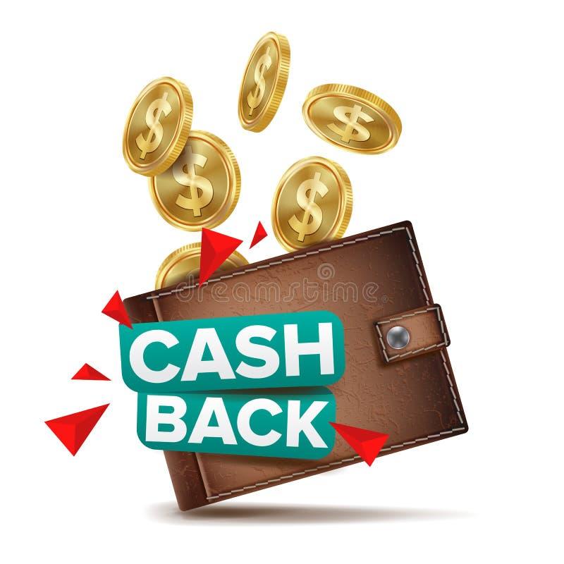 Tillbaka begreppsvektor för kassa Realistisk plånbok och guld- mynt Online-betalning som shoppar Pengaråterbäringetikett royaltyfri illustrationer