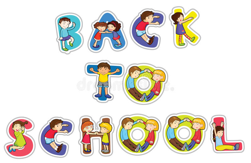 tillbaka engelsk skola som ska words vektor illustrationer