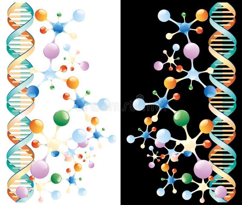 tillbaka färgmolekylar royaltyfri illustrationer