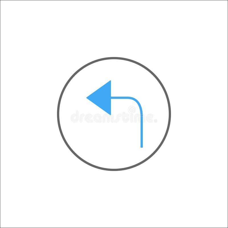 Tillbaka fast symbol för pil, mobilt tecken och endast lämnat stock illustrationer