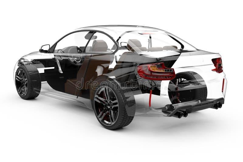 Tillbaka genomskinlig bil på en vit bakgrund vektor illustrationer