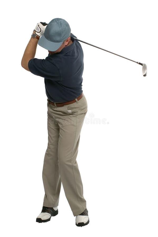 tillbaka golfareswing arkivfoton
