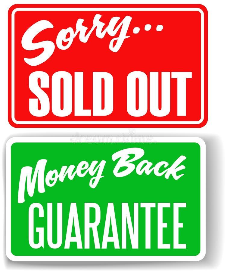 tillbaka guaranteepengar ut undertecknar det sålda ledsna lagret royaltyfri illustrationer