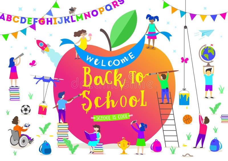 tillbaka illustrationskola till Grupp av aktiva barn runt om ett jätte- äpple Barntecken som gör olika aktiviteter vektor illustrationer